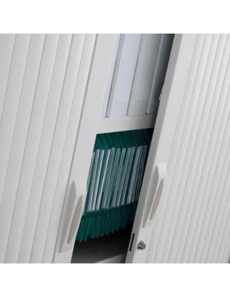 Detalle tiradores y cerradura de armario oficina metálico persiana vertical de Gapsa color