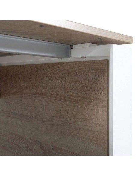 Detalle larguero mesa despacho Omega de JGorbe en olmo y blanco