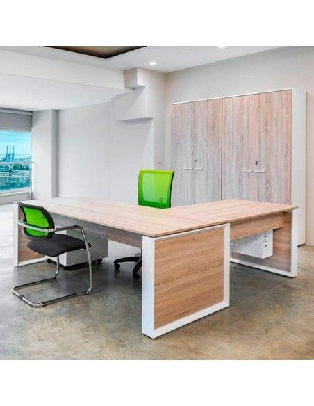 Mesa despacho Omega con ala auxiliar escritorio de JGorbe en olmo y blanco