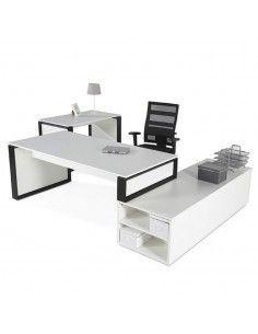 Mesa Omega + mueble auxiliar + mesa auxiliar en blanco y negro.