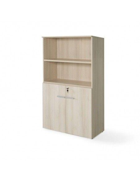 Armario oficina de madera con puertas bajas, cerradura y estantes de JGorbe en color acacia