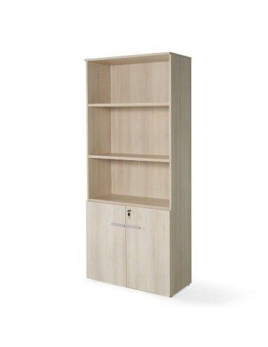 Armario de oficina con puertas bajas, cerradura y estantes de JGorbe en color acacia
