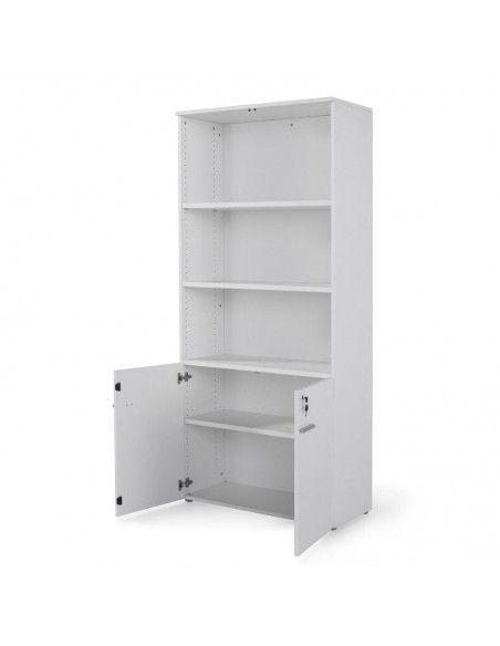 Armario de oficina con puertas bajas, cerradura y estantes de JGorbe en color blanco