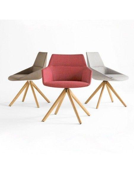 Sillas confidente Dunas XS de Inclass con base madera