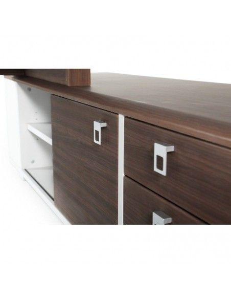 Detalle cajonera y armario del mueble auxiliar mesa despacho Líder de JGorbe en nogal oscuro