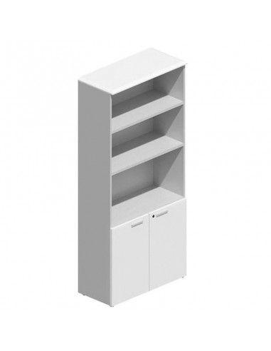 Mueble de oficina alto con puertas bajas de JGorbe en blanco