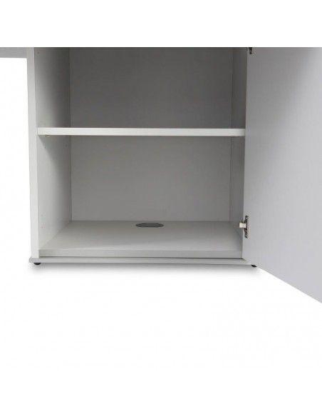 detalle armario de mesa de reuniones ovalada Líder de JGorbe en blanco