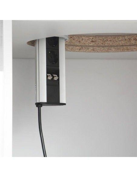 detalle electrificación interior de armario de mesa de reuniones ovalada Líder de JGorbe en blanco