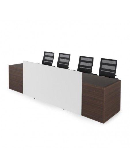 Mesa de ponencias JGorbe en nogal oscuro con panel blanco