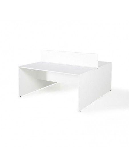 Mesa oficina multipuesto con separador de JGorbe en color blanco