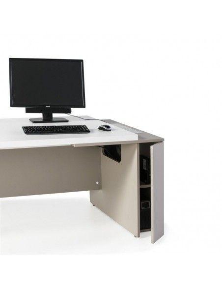 Detalle armario mesa despacho G3 de JGorbe en blanco y arena