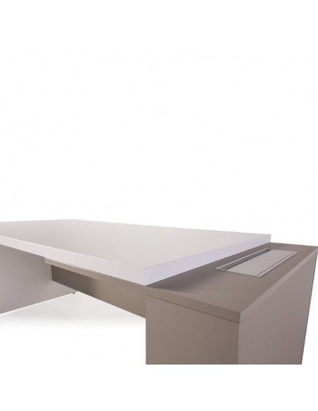 Detalles mesa despacho G3 de JGorbe en blanco y arena
