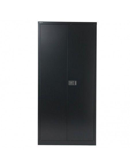 Armario oficina metálico de puertas abatibles con 4 estantes de Gapsa en color negro