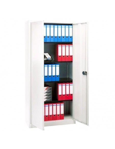 Armario oficina metálico de puertas abatibles con 4 estantes de Gapsa en color super blanco