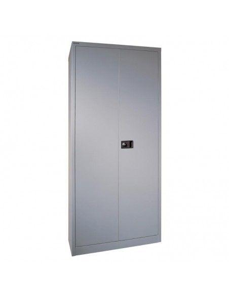 Armario oficina metálico de puertas abatibles con 4 estantes de Gapsa en color plata
