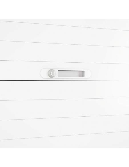 Detalle cerradura armario oficina metálico persiana horizontal NG de Gapsa en varios colores