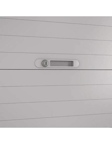 Detalle cerradura armario oficina metálico persiana horizontal NG de Gapsa en gris