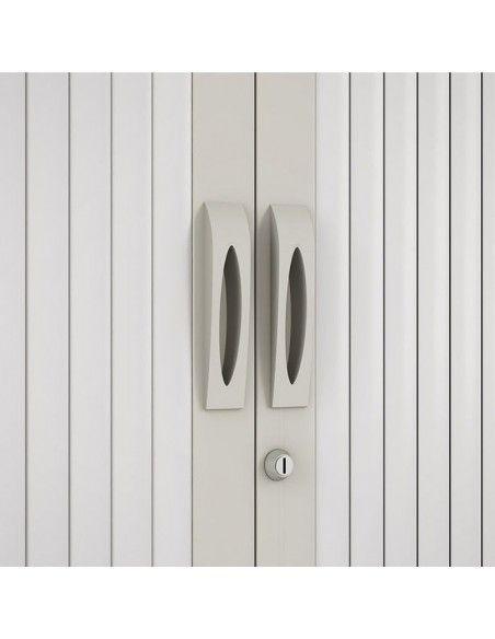 Detalle frontal armario oficina persiana vertical de Gapsa en blanco