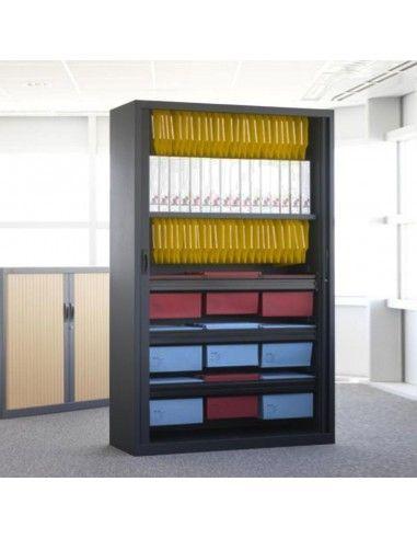 Armario oficina metálico persiana vertical de Gapsa color negro