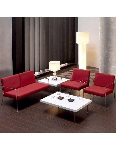 Butacas Steel de Tecno-Ofiss en polipiel roja