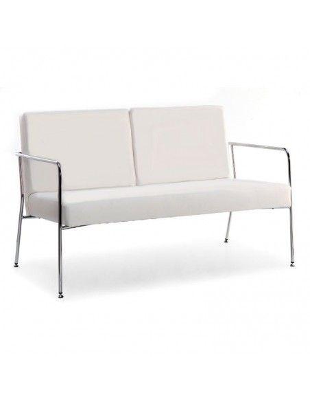 Sofa barato 2 plazas Steel de Tecno-Ofiss en polipiel blanca