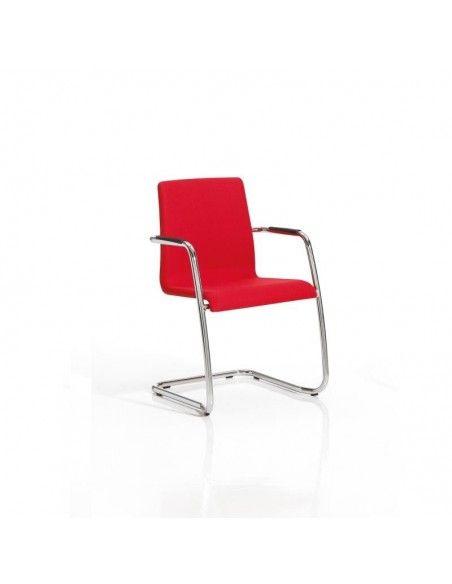 Silla confidente Custom de Dileoffice con base patín en rojo