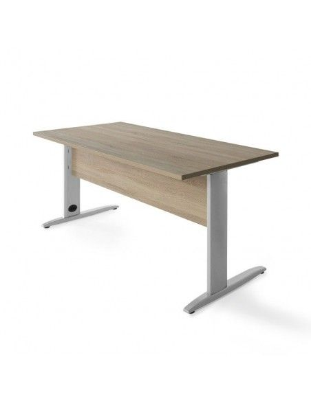 mesa oficina aneto con faldon olmo claro y gris aluminio jgorbe