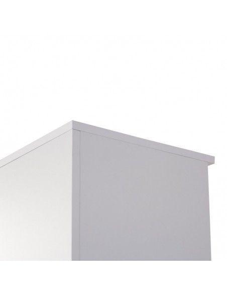 Detalle trasera y techo de armario oficina con estantes de JGorbe en color blanco