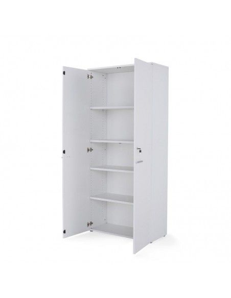 Armario oficina con llave alto de madera de JGorbe con cerradura y estantes en color blanco