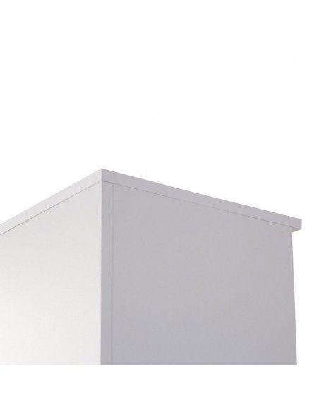 detalle del armario oficina con llave alto de madera de JGorbe con cerradura y estantes en color blanco