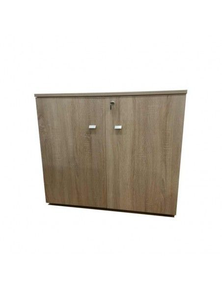 Armario oficina  altura mesa con puertas y cerradura de JGorbe en color olmo claro