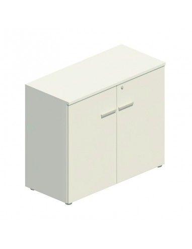 Armario oficina altura mesa con puertas y cerradura de JGorbe en color blanco