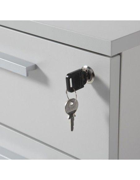 detalle cerradura cajonera escritorio de 3 cajones de JGorbe