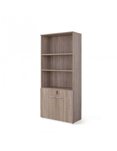 Armario oficina alto madera con puertas bajas entrega rápida