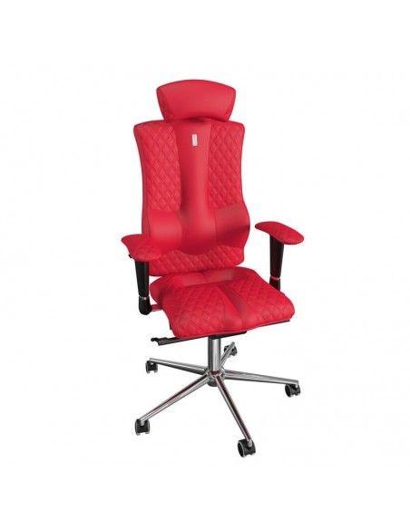 silla ergonómica con cabezal polipiel roja y base aluminio kulik system