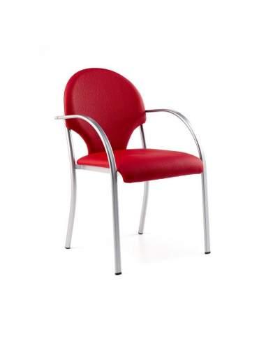Silla confidente con brazos Tefis de tecno ofiss en rojo