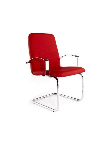Silla confidente Confort de Tecno-Ofiss en polipiel roja