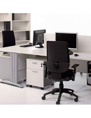Cajonera blanca oficina de madera 1 cajón más archivador de Kesta