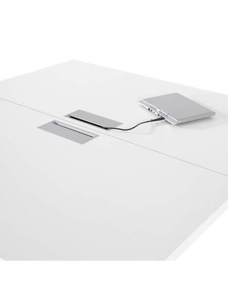 Pasacables de mesa reuniones rectangular serie G3 de Jgorbe en blanco