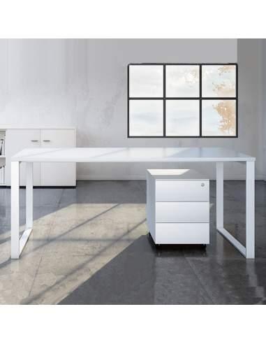 mesa escritorio de oficina color blanco marco cerrado envío rapido de aic