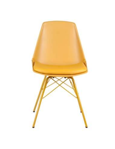 Silla color mostaza ideal para hostelería. Con estructura de polipropileno y asiento acolchado. Modelo Tania.