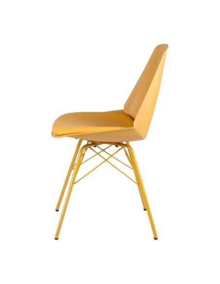 Sillas cafeterías y bares color mostaza. Modelo Tania. Estructura de polipropileno y asiento acolchado.
