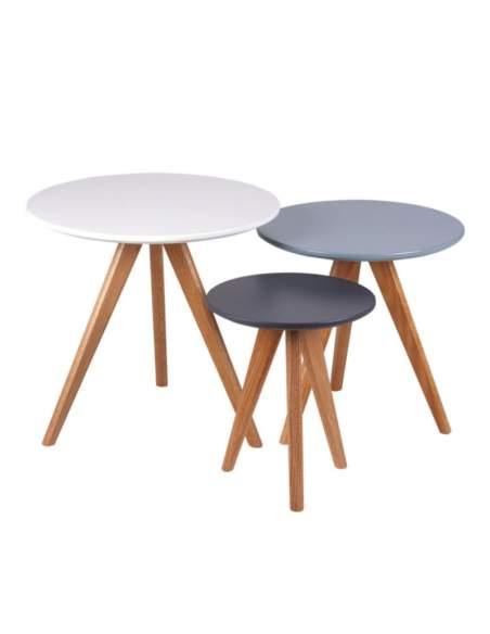 set mesas centro lucio blanco, azul y gris de somcasa