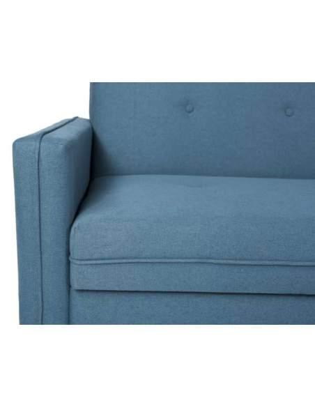Sofá cama de oficina de color azul, con patas de madera acabado natural.