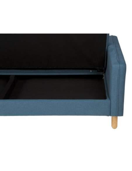 Sofá con cama de color azul, con patas de madera acabado madera natural.