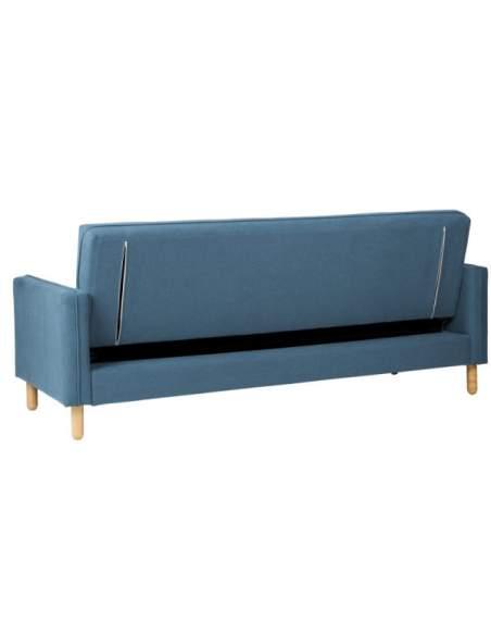Sofá cama de para recepción color azul.