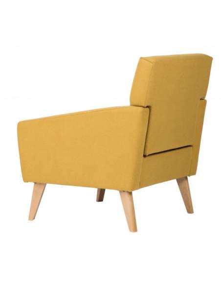 Sillón para sala de recepción con patas de madera, tela color amarillo mostaza, modelo Washington.