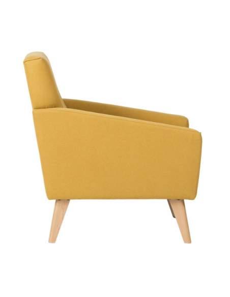 Sillón sala de espera con patas de madera, de color mostaza, modelo Washington