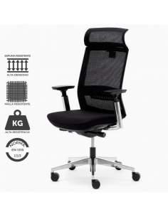 Sillón de dirección resistente, con estructura reforzada y malla ultra resistente. Color negro. Modelo sillón Toronto.