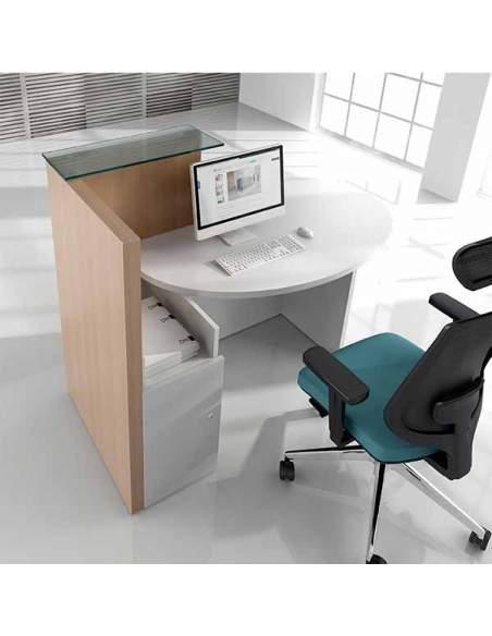 Mostrador Ovo, con armario con cierre de seguridad, repisa de cristal y mesa de atención al cliente.